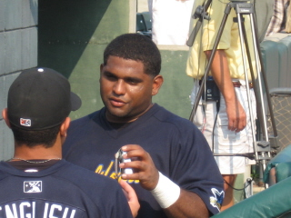 Little Pablo Sandoval chats with teammate Jesse English before Caro Cali ASG.jpg